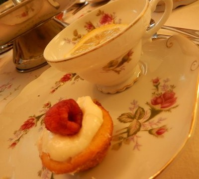 Delicious tea, pastries and fancy sandwiches